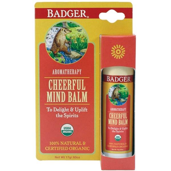 Badger Company, Cheerful Mind Balm, Sweet Orange & Spearmint, .60 oz (17 g)