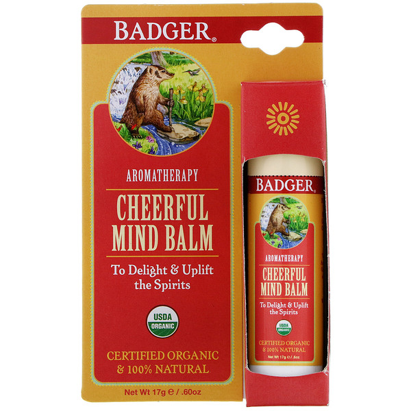 Badger Company, Cheerful Mind Balm, Sweet Orange & Spearmint, .60 oz (17 g) (Discontinued Item)