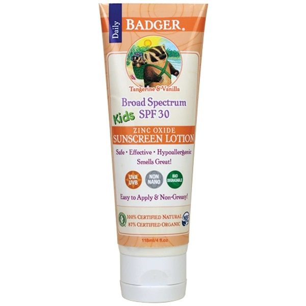 Badger Company, Daily Kids, Zinc Oxide Sunscreen Lotion, SPF 30, Tangerine & Vanilla, 4 fl oz (118 ml) (Discontinued Item)