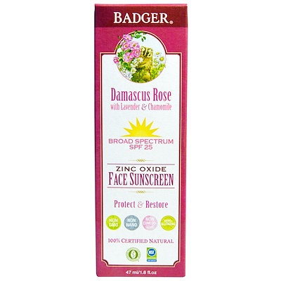 Badger Company 氧化鋅面部防曬霜,防曬係數25,大馬士革玫瑰,1.6液量盎司(47毫升)
