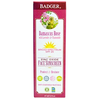 Badger Company, Zinc Oxide Face Sunscreen, SPF 25, Damascus Rose, 1.6 fl oz (47 ml)
