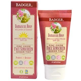 Badger Company, Bloqueador solar con color para el rostro con óxido de zinc, SPF 25, rosa damasco, 1.6 fl oz (47 ml)