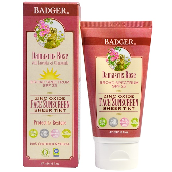 Badger Company, Zinc Oxide Face Sunscreen Sheer Tint, SPF 25, Damascus Rose, 1.6 fl oz (47 ml)