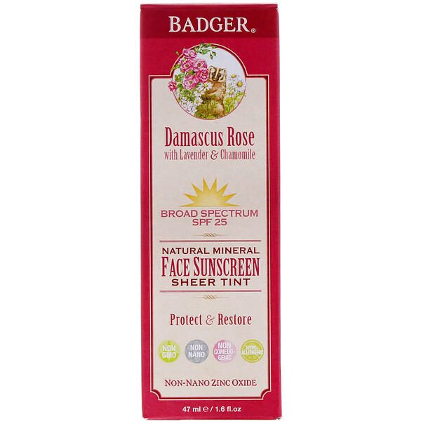 Badger Company, Natural Mineral Face Sunscreen, Sheer Tint, SPF 25, Damascus Rose, 1.6 fl oz (47 ml)