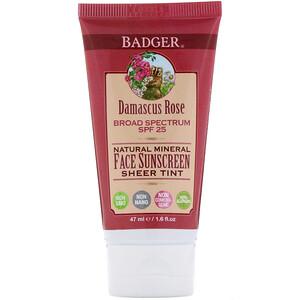Бадгер компания, Natural Mineral Face Sunscreen, Sheer Tint, SPF 25, Damascus Rose, 1.6 fl oz (47 ml) отзывы покупателей