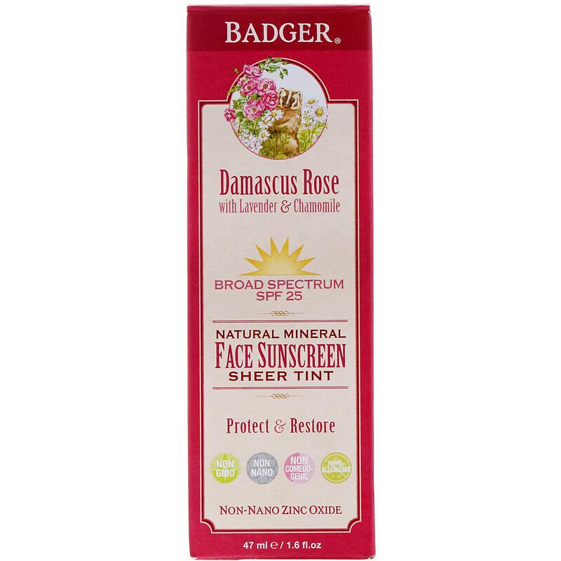 Natural Mineral Face Sunscreen, Sheer Tint, SPF 25, Damascus Rose, 1.6 fl oz (47 ml)