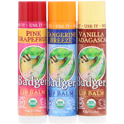 Badger Company Подарочный набор бальзамов для губ, красная коробка, набор из 3 шт. по 0, 15 унции (4, 2 г)  - купить со скидкой
