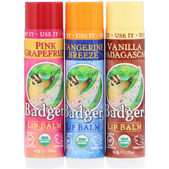 Badger Company, 潤唇膏禮盒裝,紅盒,3 包,每包 0.15 盎司(4.2 克)