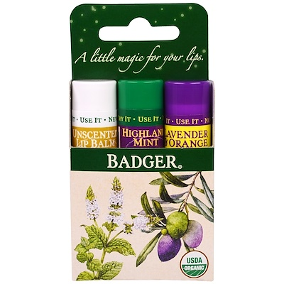 Badger Company 唇膏禮品套裝,綠盒,3包,.15盎司(4.2克)