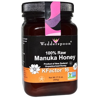 Wedderspoon, 100% Raw Manuka Honey, KFactor 16, 17.6 oz (500 g)