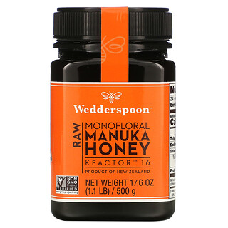 Wedderspoon, Raw Monofloral Manuka Honey, KFactor 16, 1.1 lb (500 g)