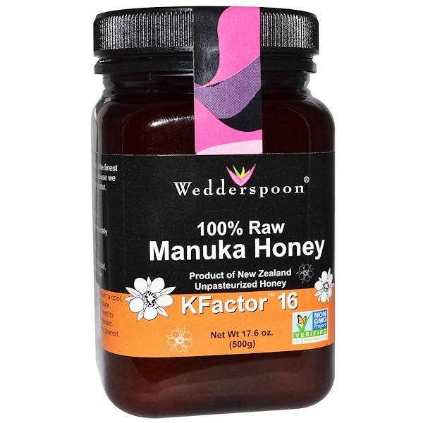Wedderspoon, 100 % عسل مانوكا خام، معيار Kfactor 16، 17.6 أونصة (500 غ)