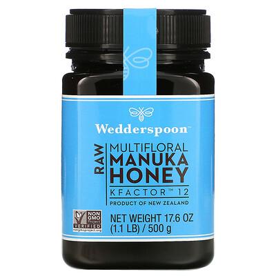 Wedderspoon Raw Multifloral Manuka Honey, KFactor 12, 1.1 lb (500 g)