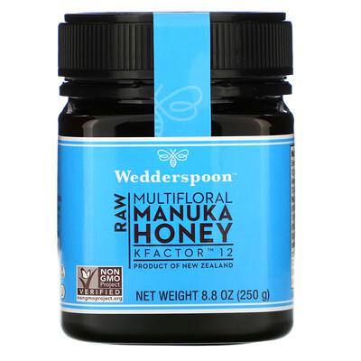 Wedderspoon Raw Multifloral Manuka Honey, KFactor 12, 8.8 oz (250 g)