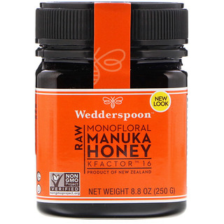 Wedderspoon, Raw Monofloral Manuka Honey, KFactor 16, 8 8 oz (250 g)