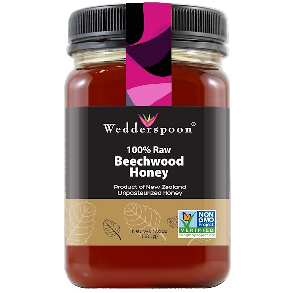 Wedderspoon, 100% Raw Beechwood Honey, 17、6 oz (500 g)