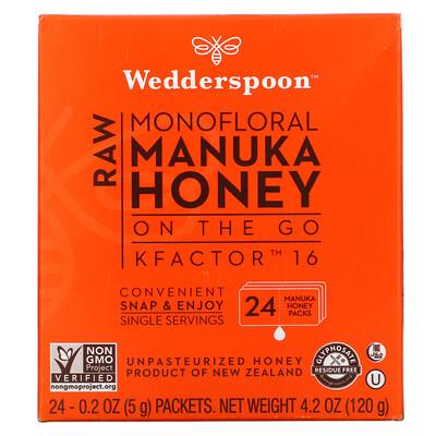 Wedderspoon Raw Monofloral Manuka Honey, KFactor 16, 24 Packs, 0.2 oz (5 g) Each