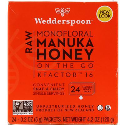 Raw Monofloral Manuka Honey, KFactor 16, 24 Packs, 0.2 oz (5 g) Each trail mix classic fruit nut blend 9 packs 1 5 oz 42 5 g each