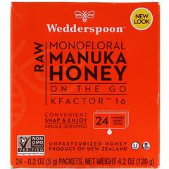 Wedderspoon, 生モノフローラルマヌカハニー、オンザゴー、KFactor(Kファクター)16、24パック、各5 g