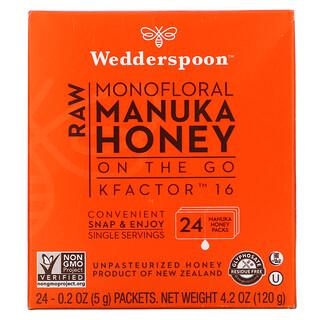 Wedderspoon, Raw Monofloral Manuka Honey On The Go, KFactor 16, 24 Packs, 0.2 oz (5 g) Each