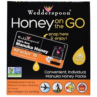 Wedderspoon, Honey On The Go, KFactor 16, 24 Packs, 5 g Each
