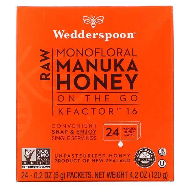 Wedderspoon, Raw Monofloral Manuka Honey On The Go, KFactor 16, 24 Packs, 0.2 oz (5 g) Each
