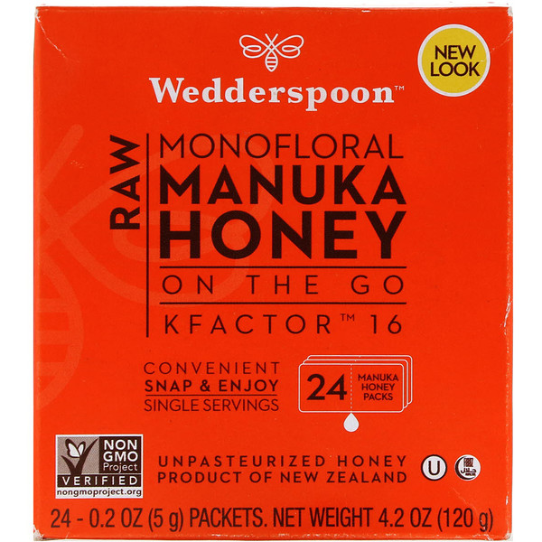 Wedderspoon, Raw Monofloral Manuka Honey, On the Go, KFactor 16, 24 Packs, 0.2 oz (5 g) Each