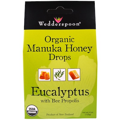 Wedderspoon 有機麥盧卡蜂蜜滴,桉樹蜂膠,4 盎司(120 克)