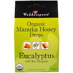 Wedderspoon, オーガニックマヌカハニードロップ、ミツバチプロポリスのユーカリ油、4 oz (120 g)