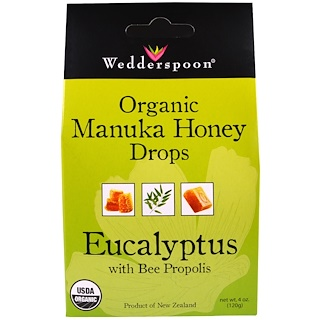 Wedderspoon, Organic Manuka Honey Drops, Eucalyptus with Bee Propolis, 4 oz (120 ج)
