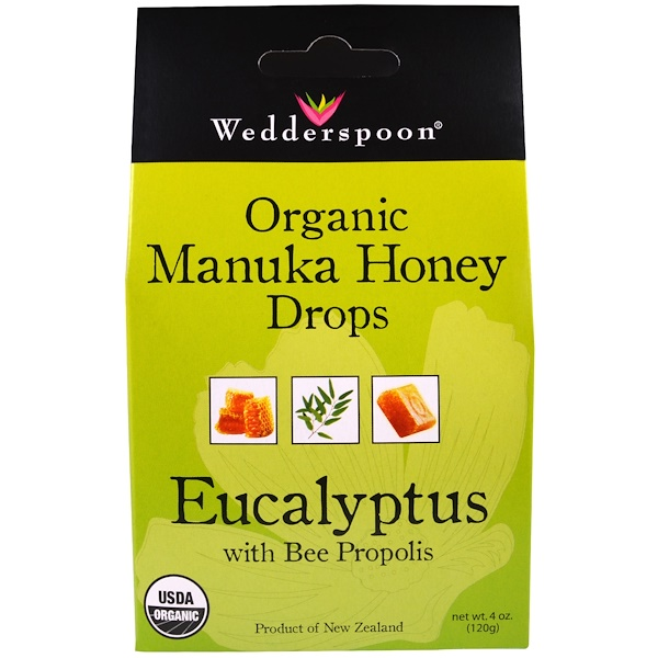 Wedderspoon, Organic Manuka Honey Drops, Eucalyptus with Bee Propolis, 4 oz (120 g)