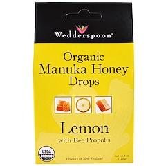 Wedderspoon, オーガニック・マヌカハニー・ドロップ、ビープロポリス入りレモン、4オンス(120g)