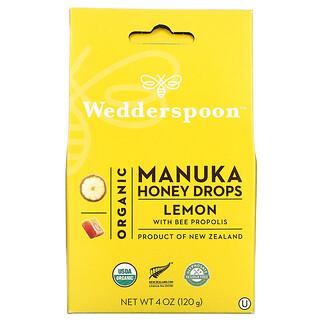 Wedderspoon, Organic Manuka Honey Drops, Lemon With Bee Propolis, 4 oz (120 g)