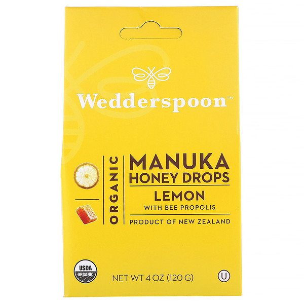 Wedderspoon, Organic Manuka Honey Drops, Lemon With Bee Propolis, 4 oz (120 g)