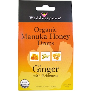 Wedderspoon, Organic Manuka Honey Drops, Ginger with Echinacea, 4 oz (120 g)