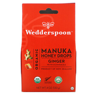 Wedderspoon, Organic Manuka Honey Drops, Ginger with Echinacea, 4 oz (120 g)