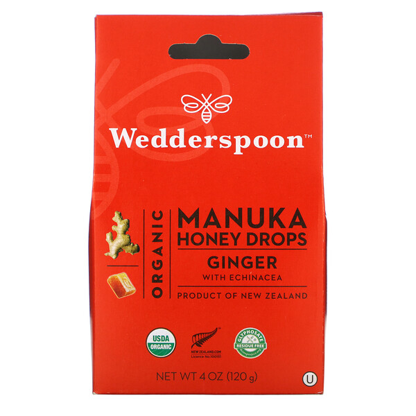 Organic Manuka Honey Drops, Ginger with Echinacea, 4 oz (120 g)
