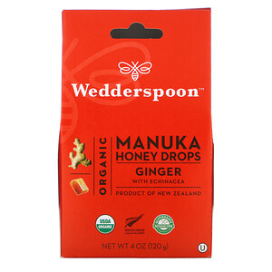 Веддерспун, Organic Manuka Honey Drops, Ginger with Echinacea, 4 oz (120 g) отзывы покупателей