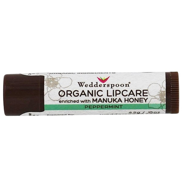 Wedderspoon, Organic Lipcare, Peppermint, 0.15 oz (4.5 g) (Discontinued Item)