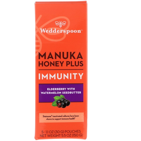Wedderspoon, Manuka Honey Plus, Immunity, Elderberry with Watermelon Seedbutter, 5 Pouches, 1.1 oz (30 g) Each (Discontinued Item)