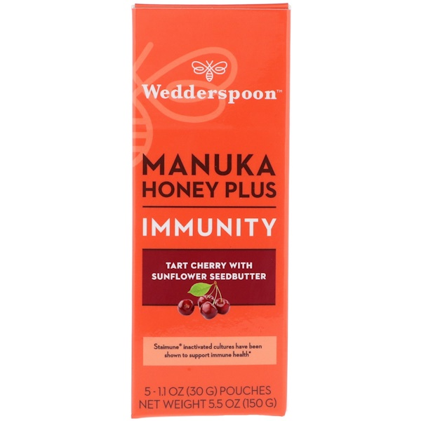 Wedderspoon, Manuka Honey Plus, Immunity, Tart Cherry with Sunflower Seedbutter, 5 Pouches, 1、1 oz (30 g) Each