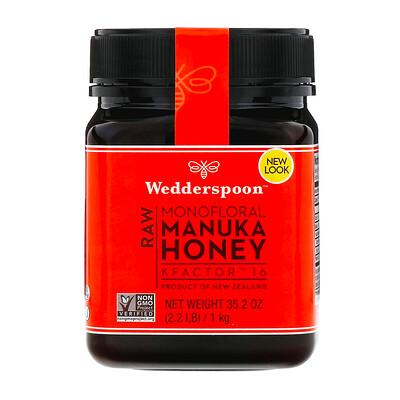Купить Wedderspoon Натуральный монофлорный мед манука, KFactor 16, 1кг (2, 2фунта)