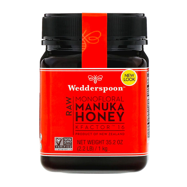 Wedderspoon, Raw Monofloral Manuka Honey, KFactor 16, 2.2 lb (1 kg)