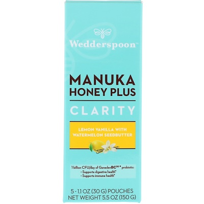 Wedderspoon Manuka Honey Plus, Clarity, Lemon Vanilla with Watermelon Seedbutter, 5 Pouches, 1.1 oz (30 g) Each