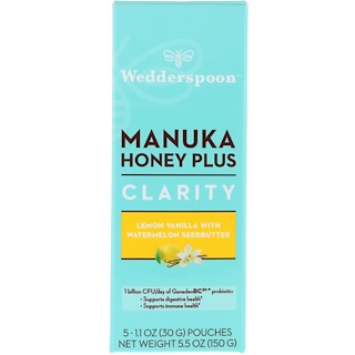 Wedderspoon, Manuka Honey Plus, Clarity, Lemon Vanilla with Watermelon Seedbutter, 5 Pouches, 1.1 oz (30 g) Each