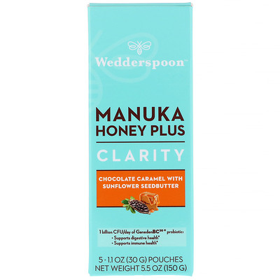 Wedderspoon Manuka Honey Plus, Clarity, Chocolate Caramel with Sunflower Seedbutter, 5 Pouches, 1.1 oz (30 g) Each