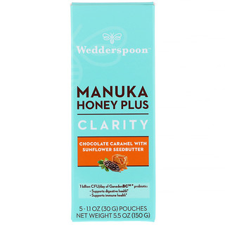 Wedderspoon, Manuka Honey Plus, Clarity, Chocolate Caramel with Sunflower Seedbutter, 5 Pouches, 1.1 oz (30 g) Each