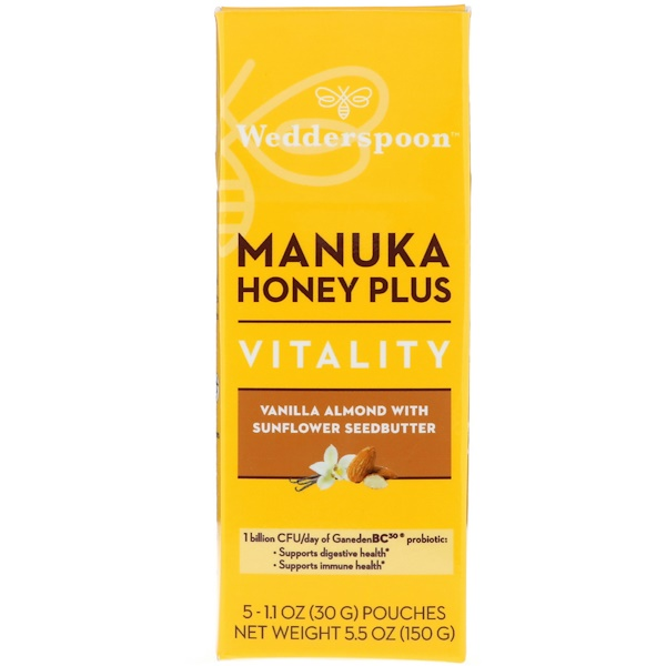 Wedderspoon, Manuka Honey Plus, Vitality, Vanilla Almond with Sunflower Seedbutter, 5 Pouches, 1.1 oz (30 g) Each (Discontinued Item)