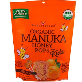 Wedderspoon, Organic Manuka Honey Pops for Kids, Orange, 24 Count, 4.15 oz