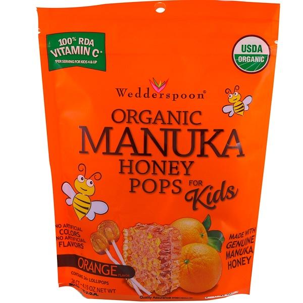 Wedderspoon, 兒童有機麥盧卡蜂蜜,橙子,24個,4、15盎司